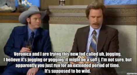 Will Ferrell talking about jogging